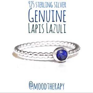 925 Sterling Silver Lapis Lazuli Bead Ring